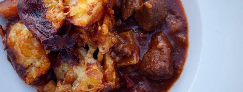 Cheesy Potato Topped Beef & Chorizo Stew Recipe by Skinny Kitchen Secrets | Gourmet Weight Watchers Recipes