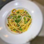 spaghetti carbonara, healthy carbonara, healthy recipe, bacon, pasta